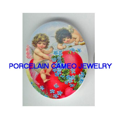 2 VICTORIAN ANGEL CHERUB LOVE HEART FORGET ME NOT* UNSET CAMEO PORCELAIN CAB