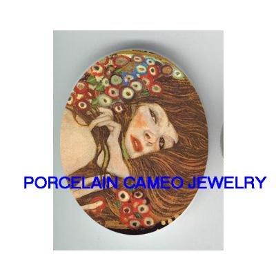 ART NOUVEAU CALLA LILY LADY UNSET PORCELAIN CAMEO 18x25