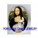 MONA LISA HOLDING WITH FRENCH BULLDOG PORCELAIN CAMEO