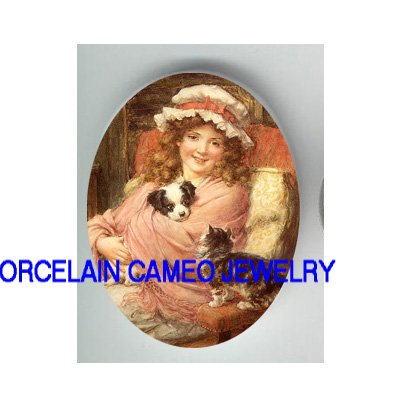 VICTORIAN GIRL CUDDLING PUPPY AND CAT * UNSET CAMEO PORCELAIN CAB