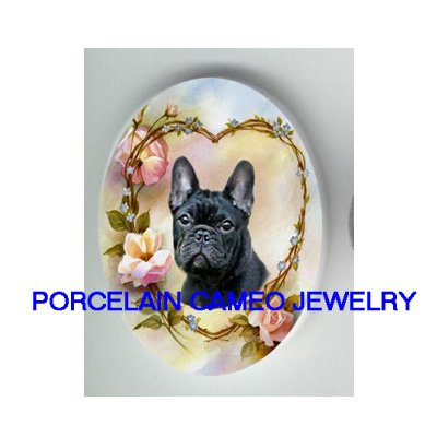 FRENCH BULLDOG ROSE HEART FORGET ME NOT PORCELAIN CAMEO CAB