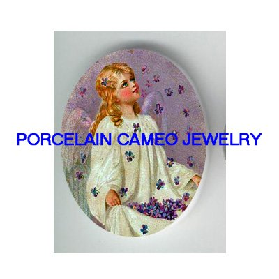 VICTORIAN VIOLET ANGEL GIRL* UNSET CAMEO PORCELAIN CAB