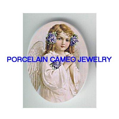 VICTORIAN VIOLET PRAYING ANGEL GIRL CAMEO PORCELAIN CAB