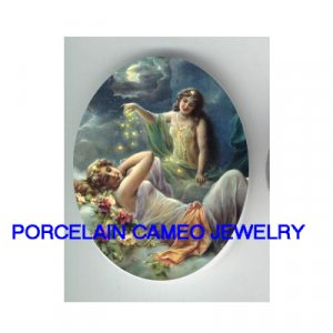 ROCOCO MOON GODDESS ROSE * UNSET CAMEO PORCELAIN CAB