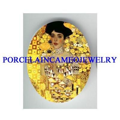 GUSTAV KLIMT GOLDEN LADY* UNSET CAMEO PORCELAIN CAB