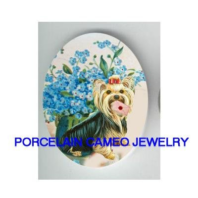 YORKSHIRE TERRIER DOG LETTER FORGET ME NOT   * UNSET CAMEO PORCELAIN CAB