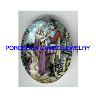 RAPUNZEL LONG HAIR WITH PRINCE* UNSET CAMEO PORCELAIN CAB