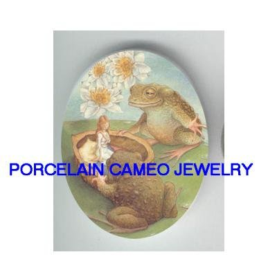 *THUMBELINA WITH 2 FROG WATER LILY POND* UNSET CAMEO PORCELAIN CAB