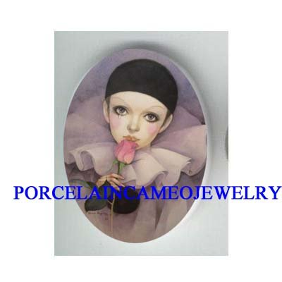 PURPLE FRENCH PIERROT CLOWN KISSING ROSE* UNSET CAMEO PORCELAIN CAB