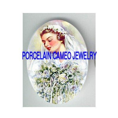 VICTORIAN VINTAGE BRIDE WITH ROSE BOUQUET * UNSET CAMEO PORCELAIN CAB