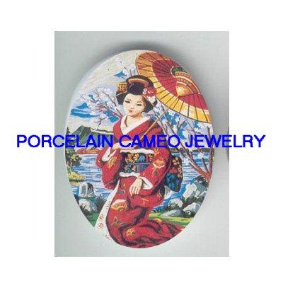 JAPAN GEISHA UMBRELLA CHERRY BLOSSOM* UNSET CAMEO PORCELAIN CAB