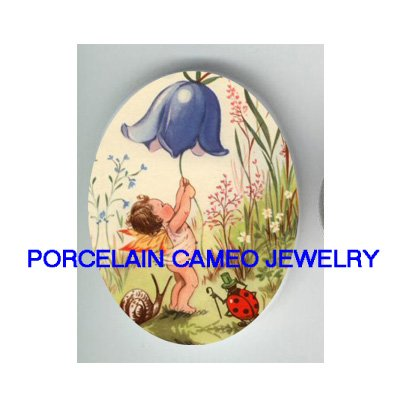 BABY FAIRY RING FLOWER BELL SNAIL LADYBUG* UNSET CAMEO PORCELAIN CAB