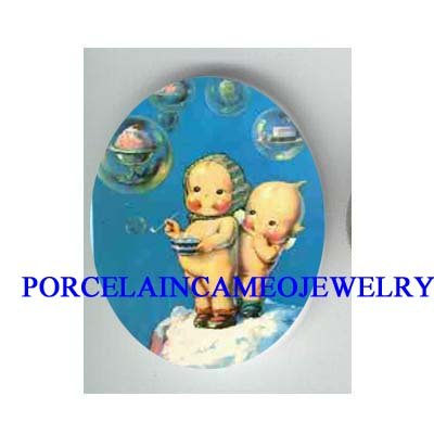 2 KEWPIE BABY BLOWING BUBBLE * UNSET CAMEO PORCELAIN CAB