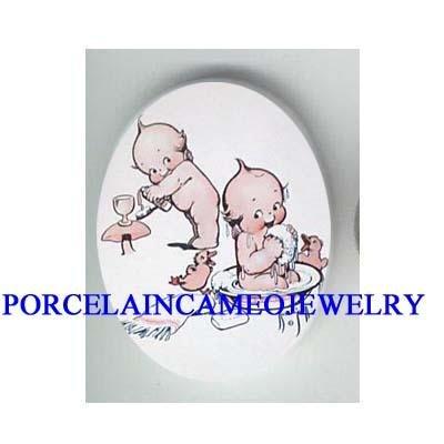 2 KEWPIE BABY WASHING DUCK CAMEO PORCELAIN CAB 18X25MM