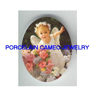 ROSE ANGEL GIRL* UNSET CAMEO PORCELAIN CAB 30X40MM
