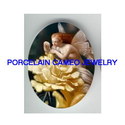 ROCOCO VICTORIAN YELLOW ROSE FAIRY UNSET CAMEO PORCELAIN CAB
