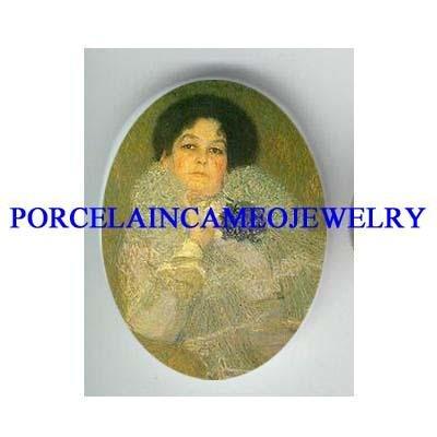 GUSTAV KLIMT LADY IN GREEN UNSET CAMEO PORCELAIN CAB