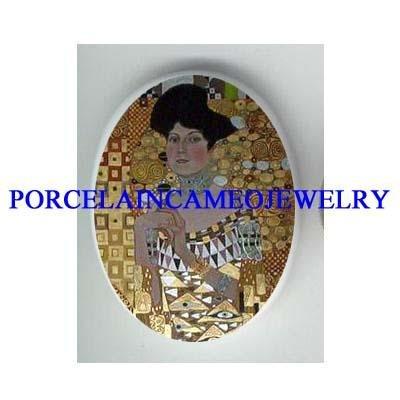 *GUSTAV KLIMT LADY HOLDING FLOWER* UNSET CAMEO PORCELAIN CAB
