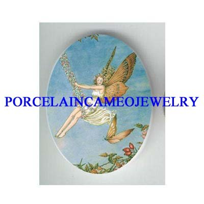BUTTERFLY FAIRY ON FLOWER SWING* UNSET CAMEO PORCELAIN CAB