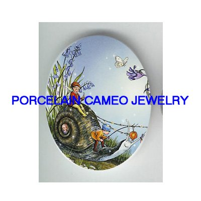 FAIRY RIDING SNAIL BUTTERFLY UNSET CAMEO PORCELAIN CAB