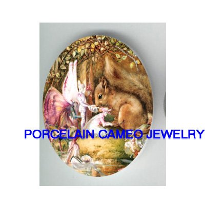 VICTORIAN FAIRY WITH SQUIRREL UNSET CAMEO PORCELAIN CAB 30X40MM