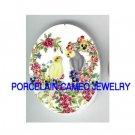 2 COCKATOO BIRD PANSY ROSE HEART* UNSET CAMEO PORCELAIN CAB