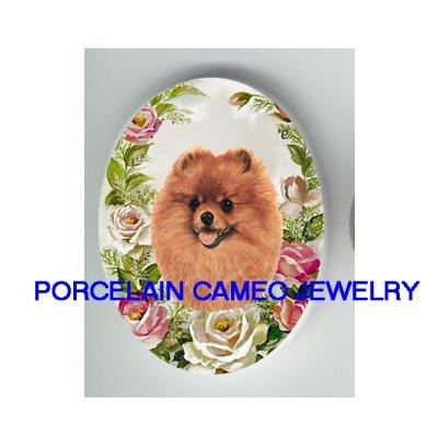 SMILING POMERANIAN DOG VICTORIAN ROSE* UNSET CAMEO PORCELAIN CAB
