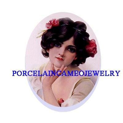 VICTORIAN ROSE LADY * UNSET CAMEO PORCELAIN CAB 18x25MM