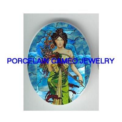 ALPHONSE MUCHA FLOWER LADY * UNSET CAMEO PORCELAIN CAB