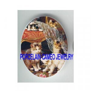 5 PLAYFUL VICTORIAN KITTY CAT CHAIR ROSE PORCELAIN CAMEO