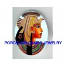 EGYPT PAPYRUS QUEEN CLEOPATRA  * UNSET CAMEO PORCELAIN CAB
