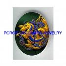 CELTIC GOLD BLUE SEAHORSE * UNSET CAMEO PORCELAIN CAB