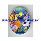 SEAHORSE ANGEL FISH CORAL * UNSET CAMEO PORCELAIN CAB
