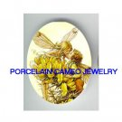 2 VICTORIAN KISSING  DRAGONFLY FAIRY* UNSET CAMEO PORCELAIN CAB