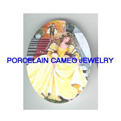 CINDERELLA YELLOW DRESS RUNNING UNSET CAMEO PORCELAIN