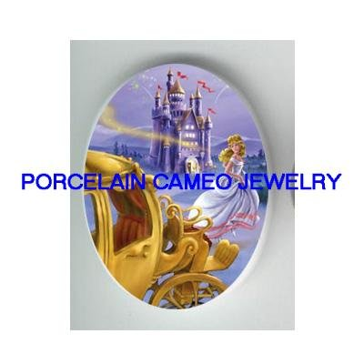 CINDERELLA WITH CARRIAGE CASTLE CAMEO PORCELAIN CAB