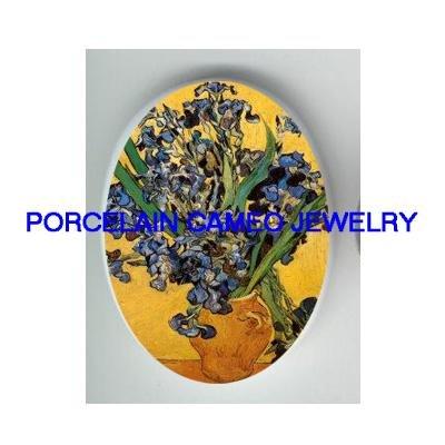 VAN GOGH IRIS FLOWER * UNSET CAMEO PORCELAIN CAB