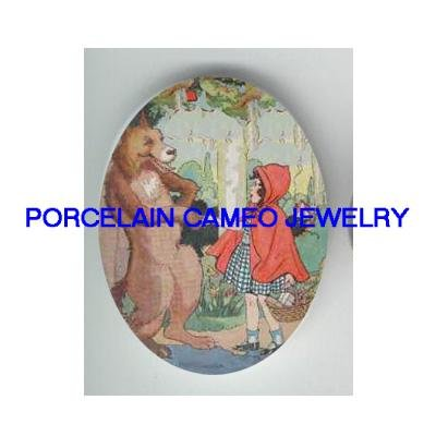 LITTLE RED RIDING HOOD WITH WOLF UNSET CAMEO PORCELAIN