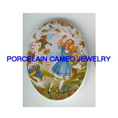 ALICE IN WONDERLAND WITH PARROT* UNSET CAMEO PORCELAIN CAB
