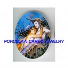 MERMAID WITH SEAHORSE PRINCE * UNSET CAMEO PORCELAIN CAB