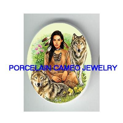 AMERICAN INDIAN PRINCESS WITH 2 GREY WOLF* UNSET CAMEO PORCELAIN CAB
