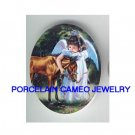 ANGEL GIRL CUDDLING BABY HORSE* UNSET CAMEO PORCELAIN CAB