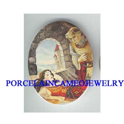 *SLEEPING BEAUTY WITH PRINCE * UNSET CAMEO PORCELAIN CAB
