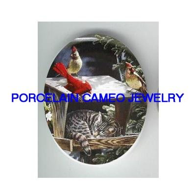 GREY KITTY CAT CARDINAL BIRD UNSET CAMEO PORCELAIN CAB