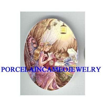 BUTTERFLY FAIRY READ TO RABBIT BUNNY* UNSET CAMEO PORCELAIN CAB