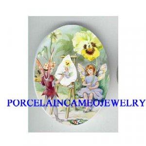 2 PANSY FLOWER FAIRY DRAWING UNSET CAMEO PORCELAIN CAB