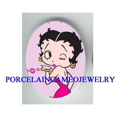 PINK BETTY BOOP BLOW KISSES  * UNSET CAMEO PORCELAIN CAB