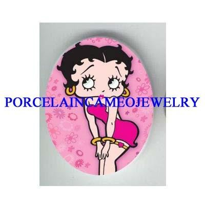 PINK SEXY BETTY BOOP UNSET CAMEO PORCELAIN CAB 30X40MM