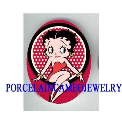 SEXY BETTY BOOP RED DRESS * UNSET CAMEO PORCELAIN CAB