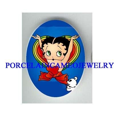 BETTY BOOP IN BOW HEART * UNSET CAMEO PORCELAIN CAB